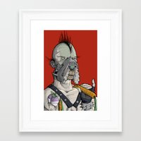 vegetarian Framed Art Prints featuring Vegetarian the Destroyer! by David Comito