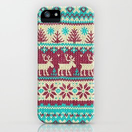 Ugly Christmas Sweater Digital Knit Pattern 2 iPhone Case
