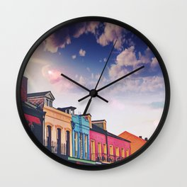 Sunny Cloudy Skies Iconic Colorful Rainbow New Orleans French Quarter Nola Architecture Cityscape Wall Clock