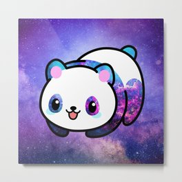 Kawaii Galactic Mighty Panda Metal Print