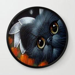FANTASY BLACK PERSIAN ANGEL CAT & POPPPIES Wall Clock