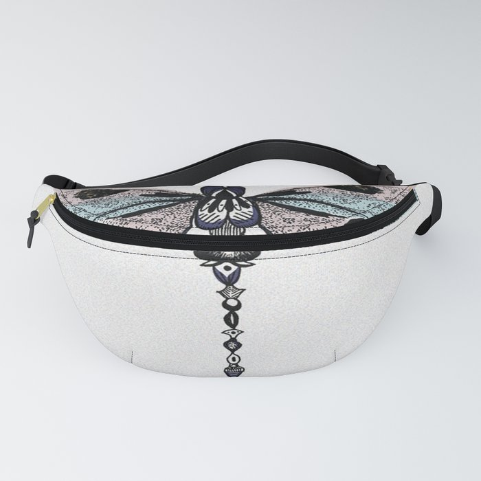 Black, pastel pink and blue Dragonfly Fanny Pack
