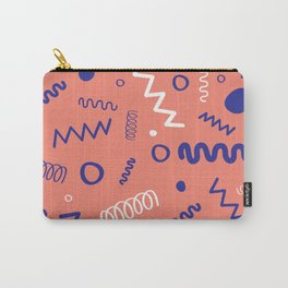 Memphis Peach Blue White Hand Drawn Pattern Carry-All Pouch