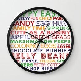 happy easter egg parade family chocolate Wall Clock