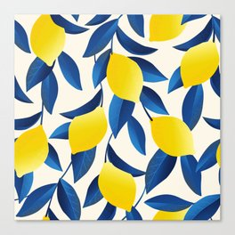 Yellow Limons and Blue Leaves Canvas Print