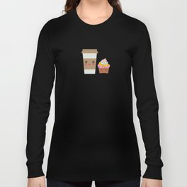 coffee in Paper thermo cup with brown cap and cup holder, chocolate cupcake. Kawaii Long Sleeve T-shirt