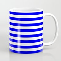 stripes Mugs featuring Horizontal Stripes (Blue/White) by 10813 Apparel