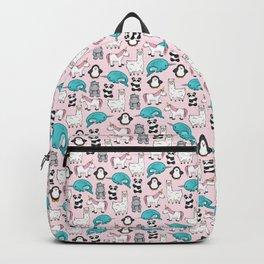 Panda, Narwhal, Llama, Penguin, Hippo, Girl's Animal Illustrations, Pink Print Backpack