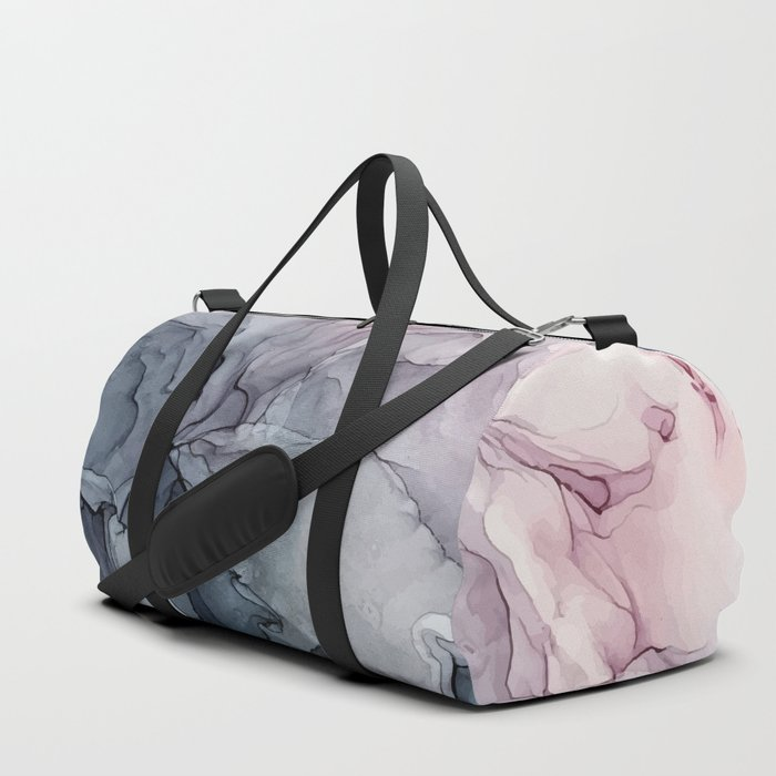 Blush and Payne's Grey Flowing Abstract Painting Duffle Bag