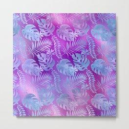Iridescent Tropical Leaves in Aqua and Purple-Pink Colors Metal Print