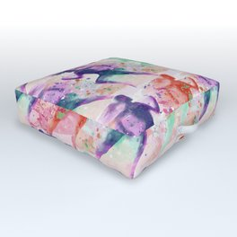 Watercolor women runner pattern with red mint and dark purple Outdoor Floor Cushion