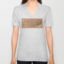 Colton's map of the State of Tennessee (1876) Unisex V-Neck