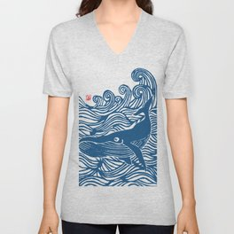 Japan Sea Whale Art Lino Unisex V-Neck