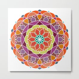 Flame mandala fractal design Metal Print