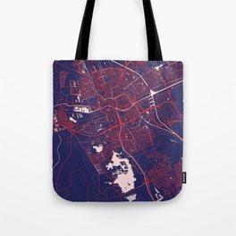 Groningen, Netherlands, Blue, White, City, Map Tote Bag