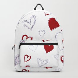 Red & Glitter Hearts Backpack