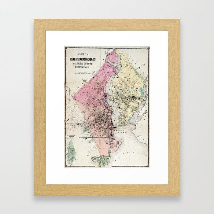 Vintage Map of Bridgeport CT (1867) Framed Art Print