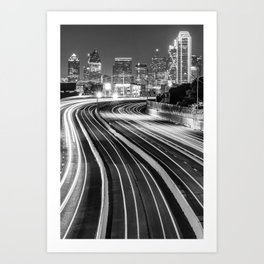 City of Dallas Texas - Black and White Skyline Photography Art Print