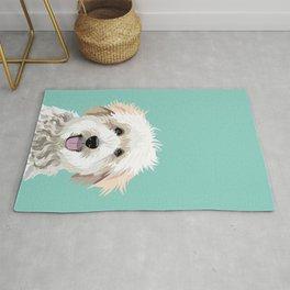 Golden Doodle pet portrait art print and dog gifts Rug