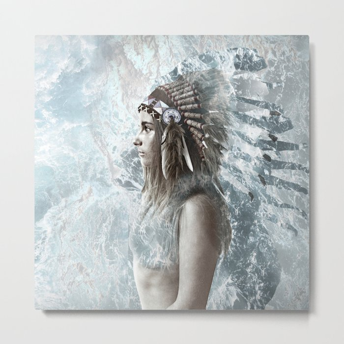 feather and the sea Metal Print