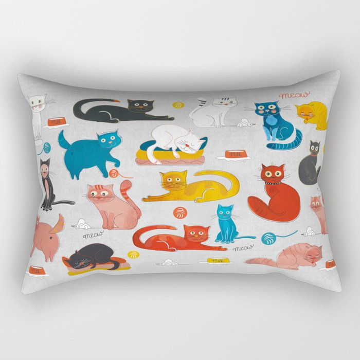 Playful Cats - illustration Rectangular Pillow