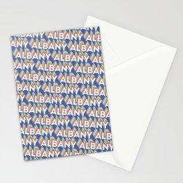 Albany, New York Trendy Rainbow Text Pattern (Blue) Stationery Cards