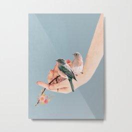 Birds on Hand Metal Print