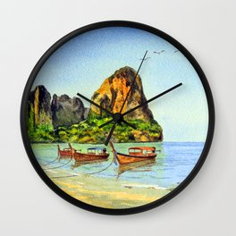 Long-tail Boats At Railay Beach Krabi Thailand Wall Clock