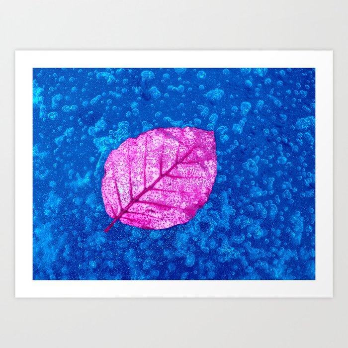 frosty pink leaf II Art Print