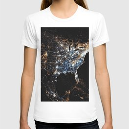 North America and the United States aerial view from outer space at night T-shirt