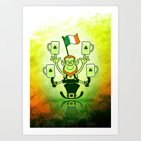 Leprechaun Juggling Beers and Irish Flag Art Print