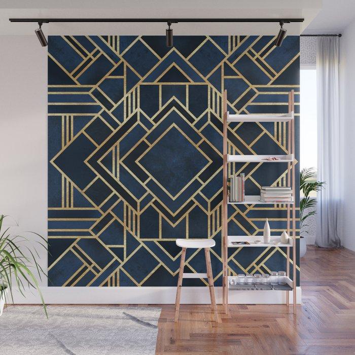Art Deco Fancy Blue Wall Mural