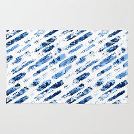 Watercolor blue brush rain Rug