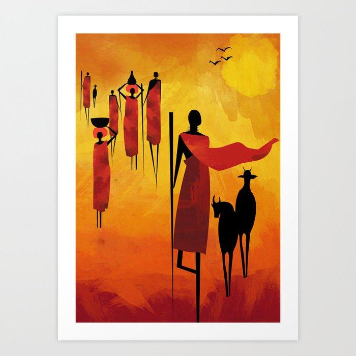 Maasai Art Print By Uvinart Society6