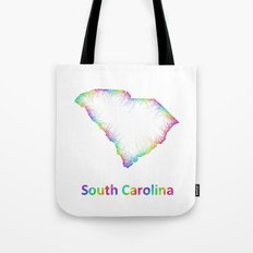 Rainbow South Carolina map Tote Bag