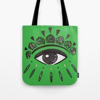 kenzo Tote Bags featuring Kenzo eye green by cvrcak
