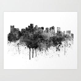Boston skyline in black watercolor Art Print