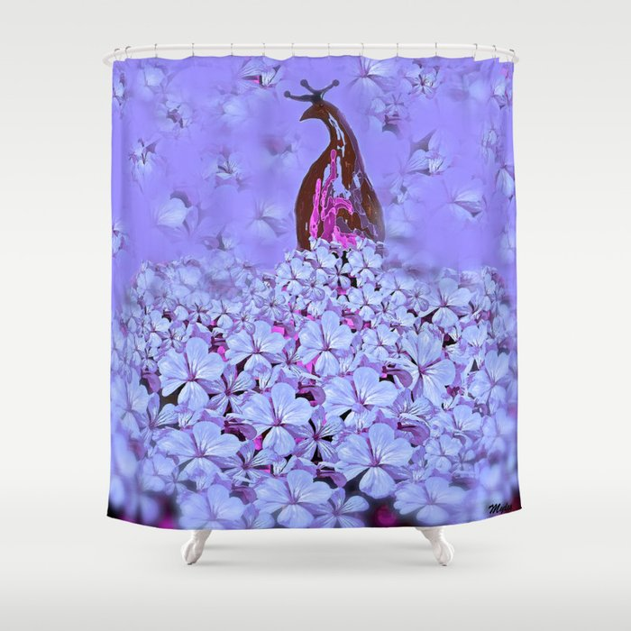 Peacock So Pretty In Purple Shower Curtain by saundramyles