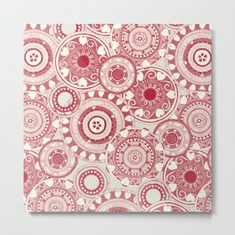 heart mandala red Metal Print
