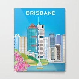 Brisbane, Australia - Skyline Illustration by Loose Petals Metal Print