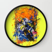 moto Wall Clocks featuring Moto Splash by Echo9Studio