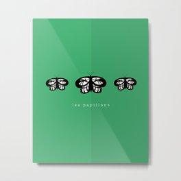 Les Papillons (Green) Metal Print