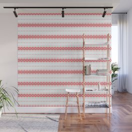 Red and white ethnic boho pattern Wall Mural