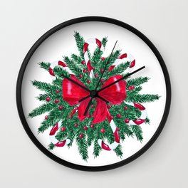 Christmas Bouquet fir branches red bow Wall Clock