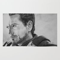 tony stark Area & Throw Rugs featuring Not the Hero Type - Tony Stark by Charcoal Portraits by Amanda & Terry