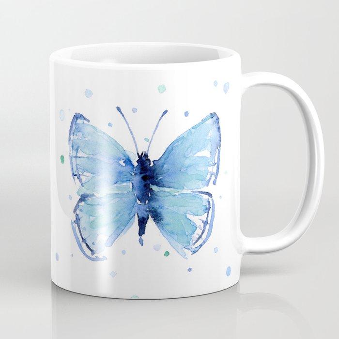 Blue Butterfly Watercolor Coffee Mug