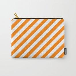 Diagonal Stripes (Orange/White) Carry-All Pouch