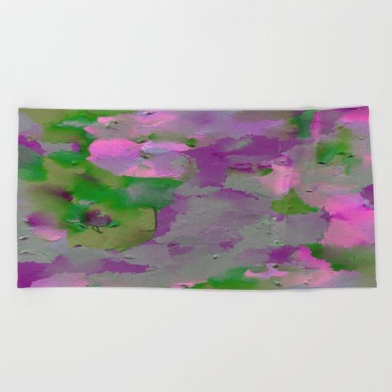 Raw Paint 1 - Purple And Green Beach Towel
