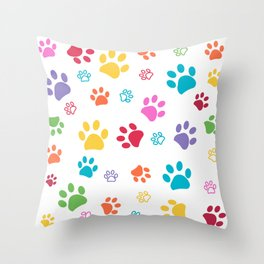 Colorful paw pattern background Throw Pillow