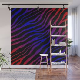 Ripped SpaceTime Stripes - Red/Blue Wall Mural